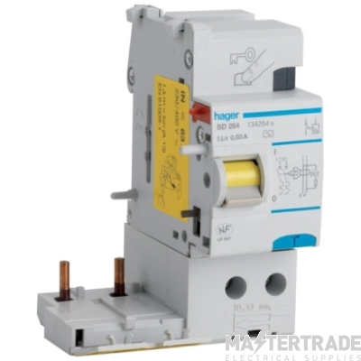 Hager BE264 RCCB DP Add-On 63A 100mA