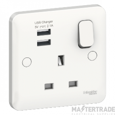 White Schneider Lisse Switched Fuse Connection Unit 1 Gang 13A GGBL5010