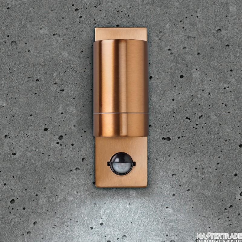 BELL 10416 Luna GU10 PIR Wall Light - Fixed Single, Copper, IP54