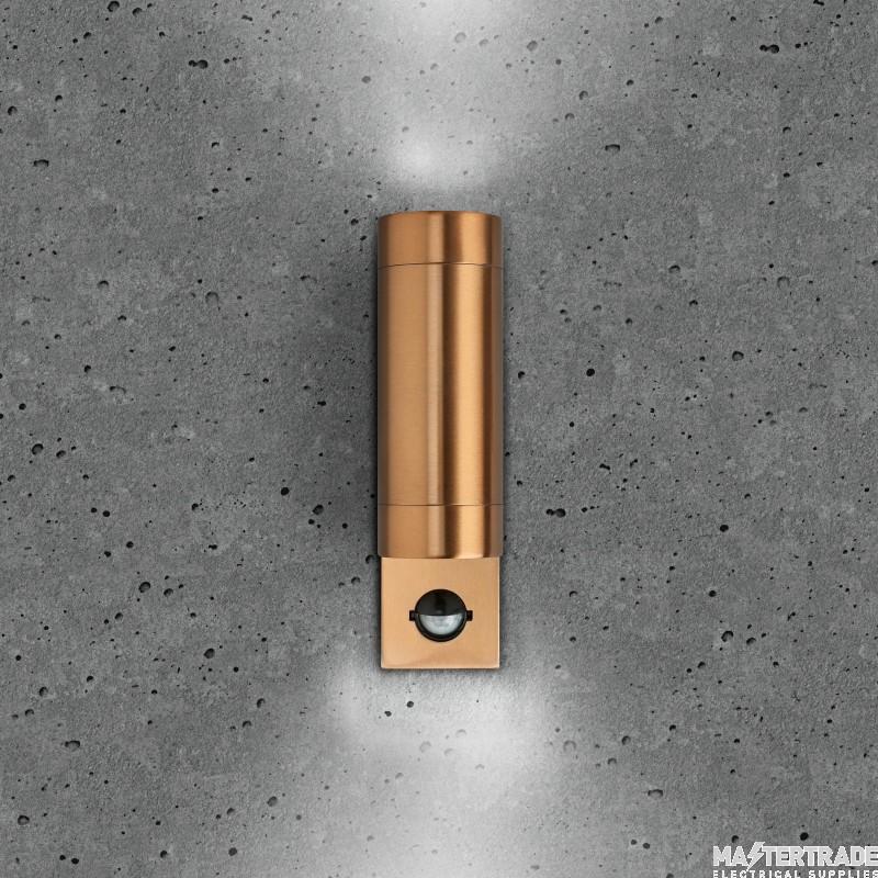 BELL 10418 Luna GU10 PIR Wall Light - Fixed Up/Down, Copper, IP65