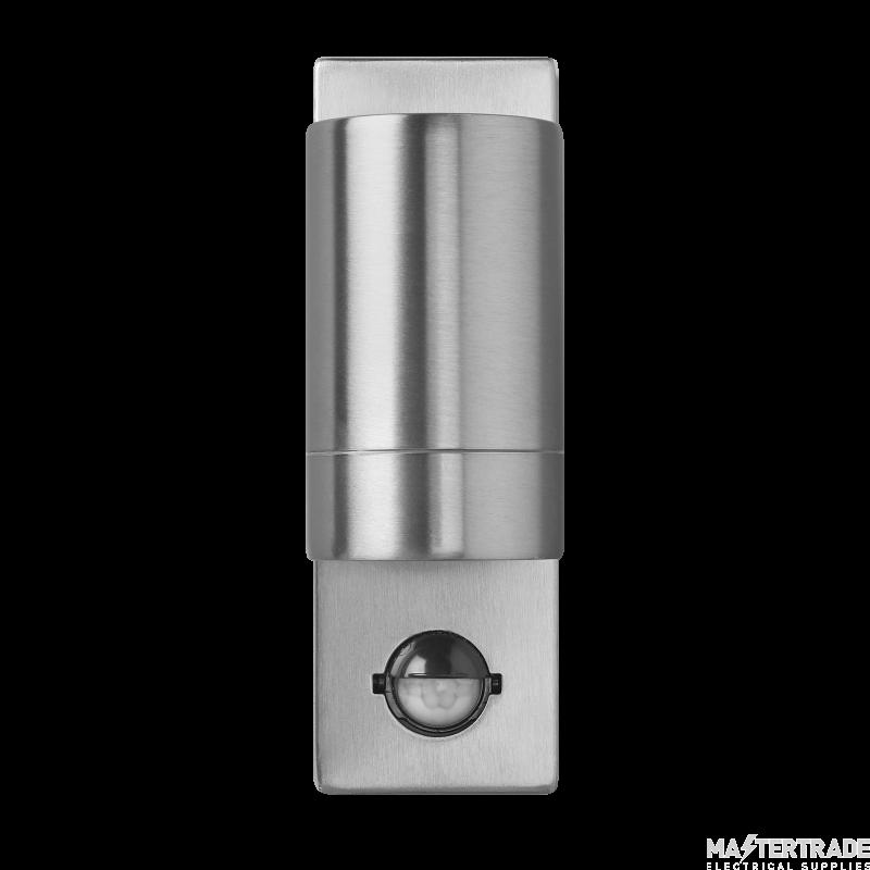 BELL 10420 Luna GU10 PIR Wall Light - Fixed Single, Stainless Steel, IP54