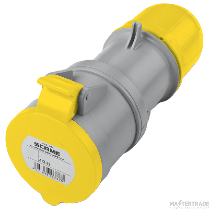 Scame 2P+E 32A Yellow IP44 Industrial Connector 313.3240
