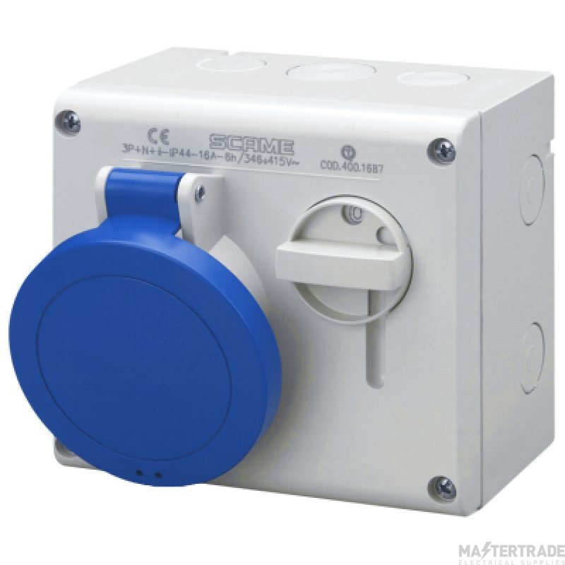 Scame 500.M1683 IP44 Switched Interlocked Socket 2P+E 16A Blue