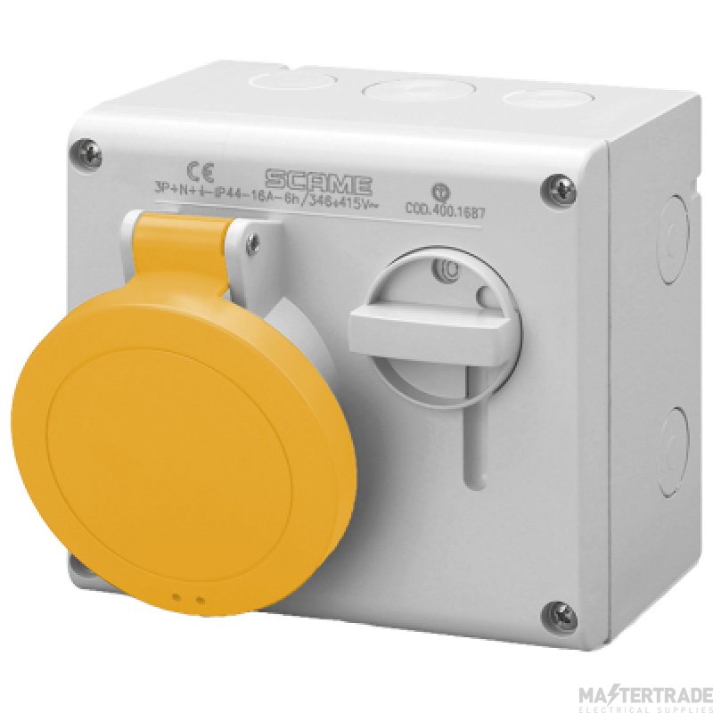 Scame 500.M3270 IP44 Switched Interlock Socket 2P+E 32A Yellow