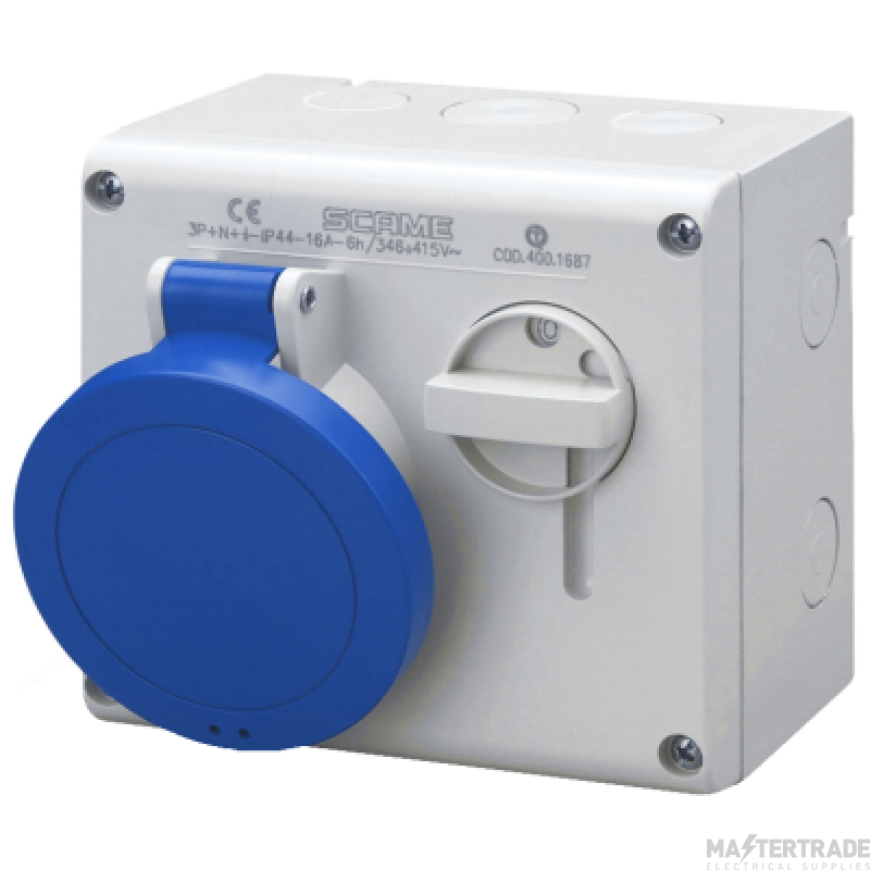Scame 500.M3283 IP44 Switched Interlock Socket 2P+E 32A Blue