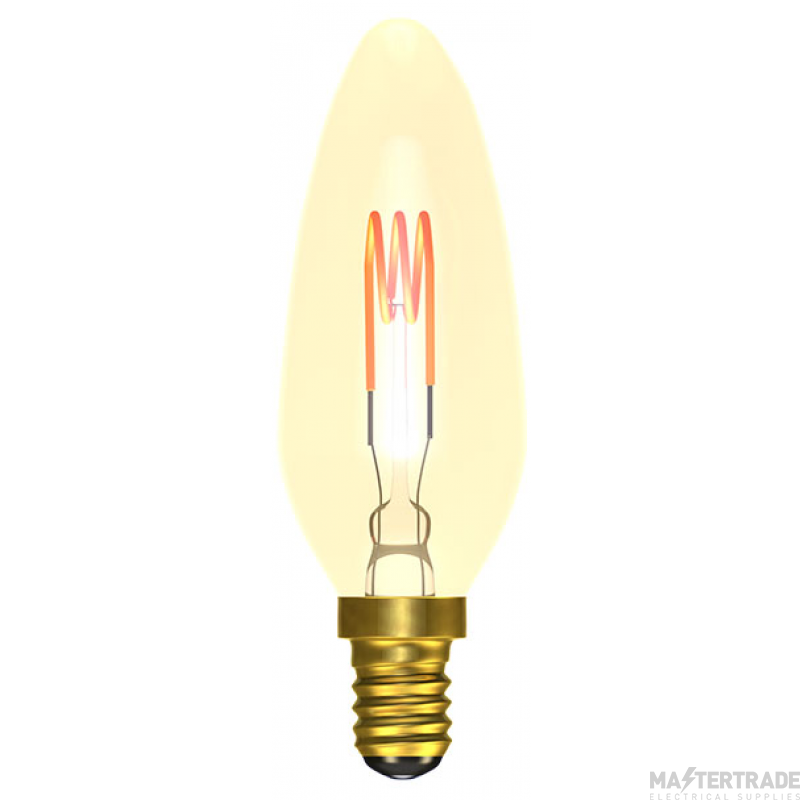 BELL 60027 4W LED Vintage Soft Coil Candle Dimmable - SES, Amber, 2000K