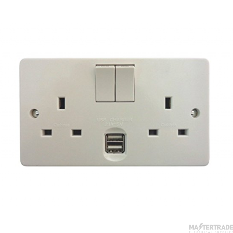 Crabtree White 13A Socket 2 Gang Switched DP c/w 2xUSB 4306/USB/D
