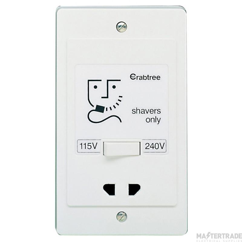 Crabtree Capital White 115/230V O/PT 230V I/PT Shaver Supply Unit Dual Voltage 2400