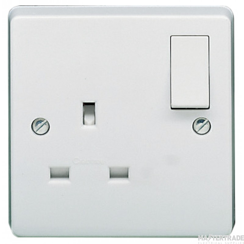 Crabtree White 13A Socket 1 Gang Switched SP Dual Earth 4304