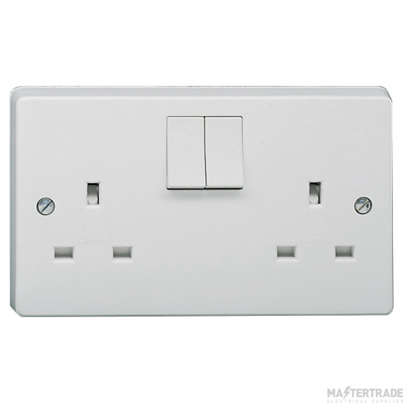 Crabtree White 13A Socket 2 Gang Switched SP Dual Earth 4306