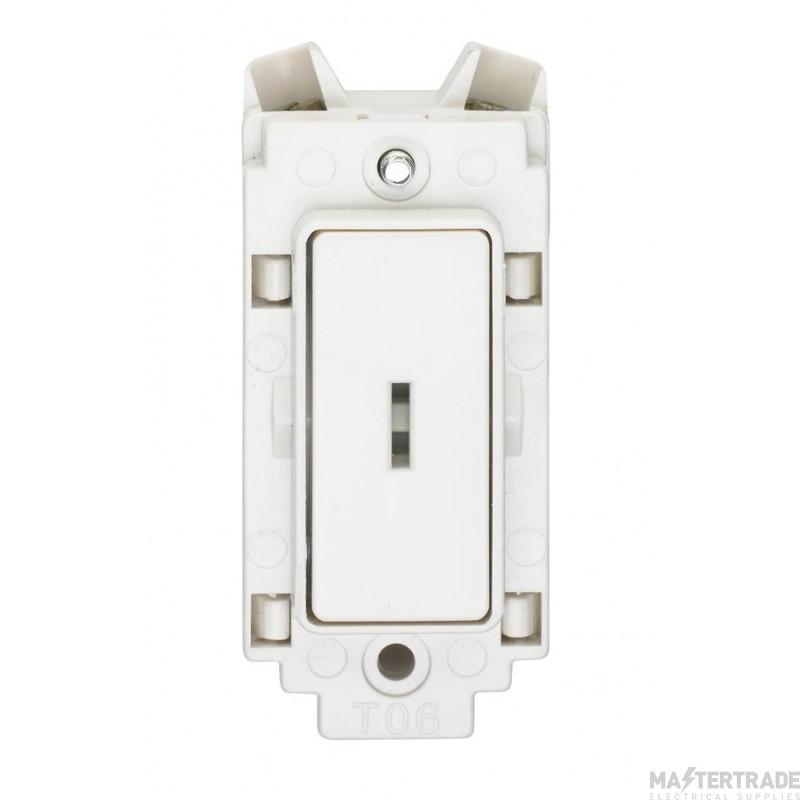Crabtree Rockergrid White 20A Grid Switch 1 Way DP c/w Key 4461/ELT