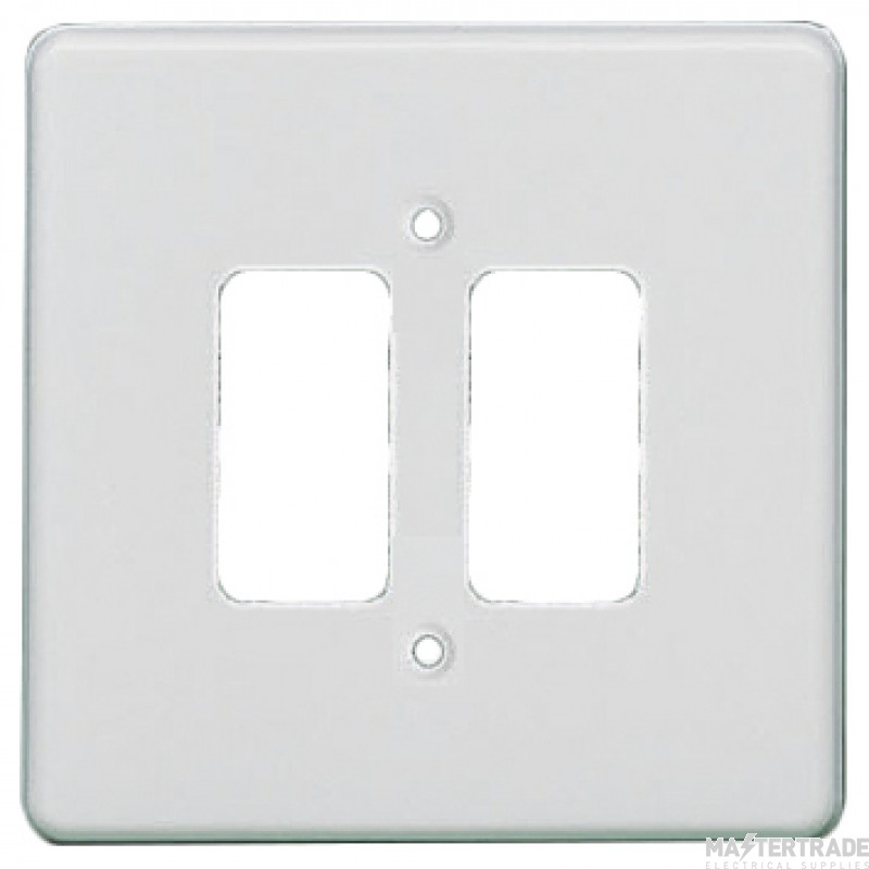 Crabtree Rockergrid White Frontplate 2 Gang Rockergrid Flush 5572