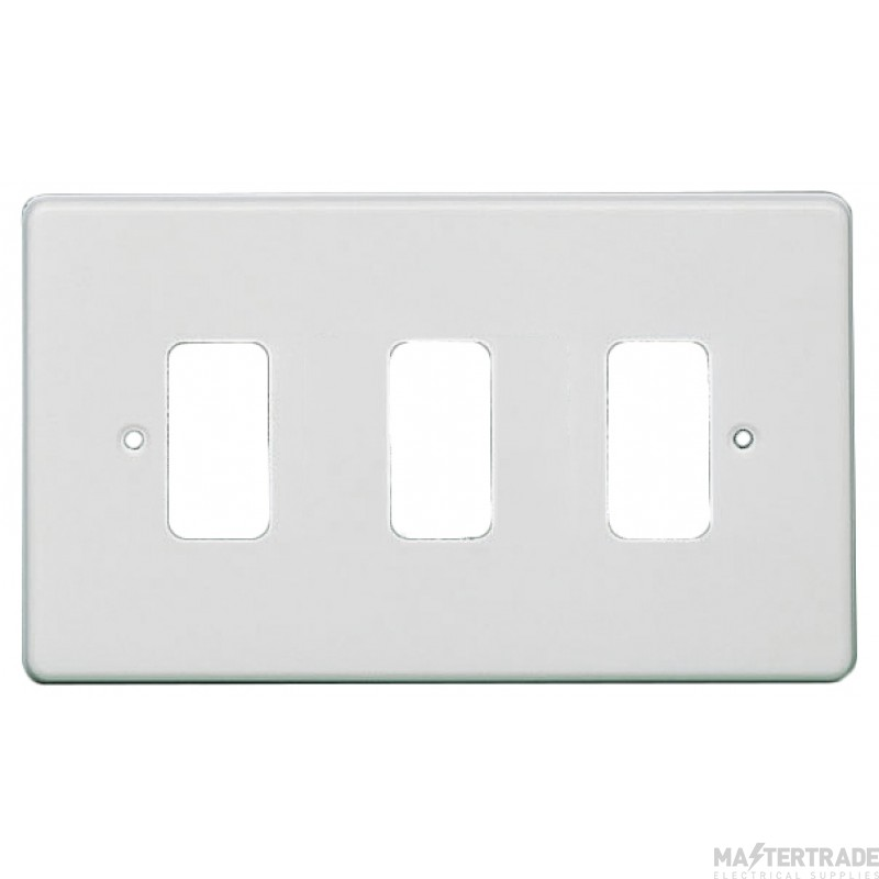 Crabtree Rockergrid White Frontplate 3 Gang Rockergrid Flush 5573