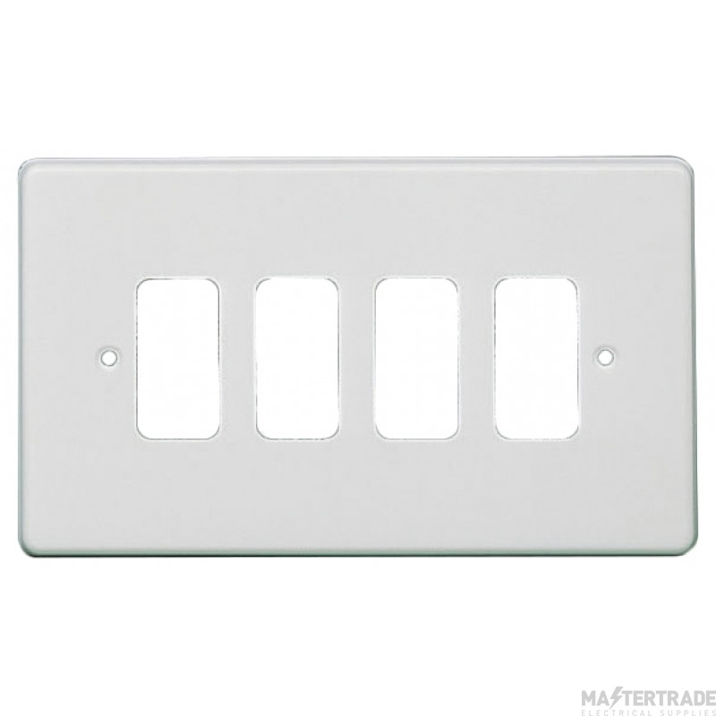 Crabtree Rockergrid White Frontplate 4 Gang Rockergrid Flush 5574