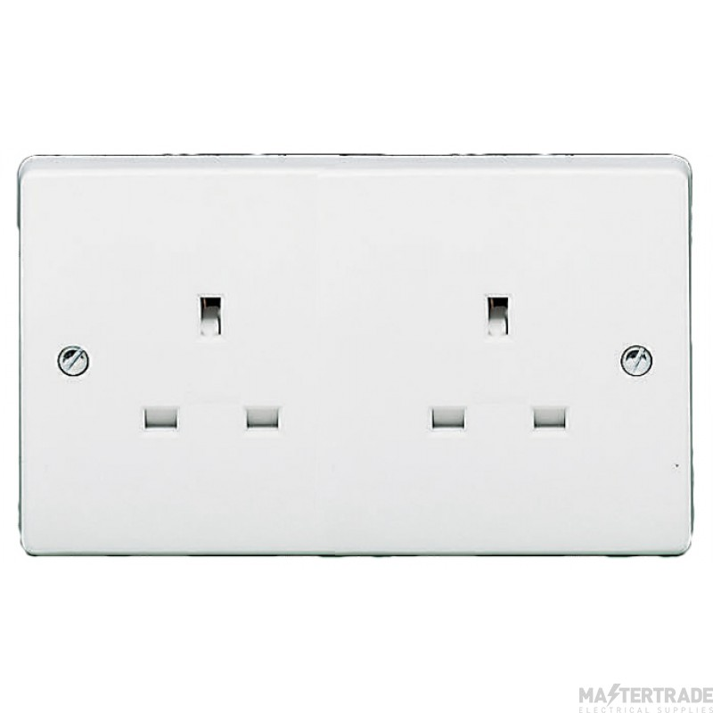 Crabtree White 13A Socket 2 Gang Unswitched 7257