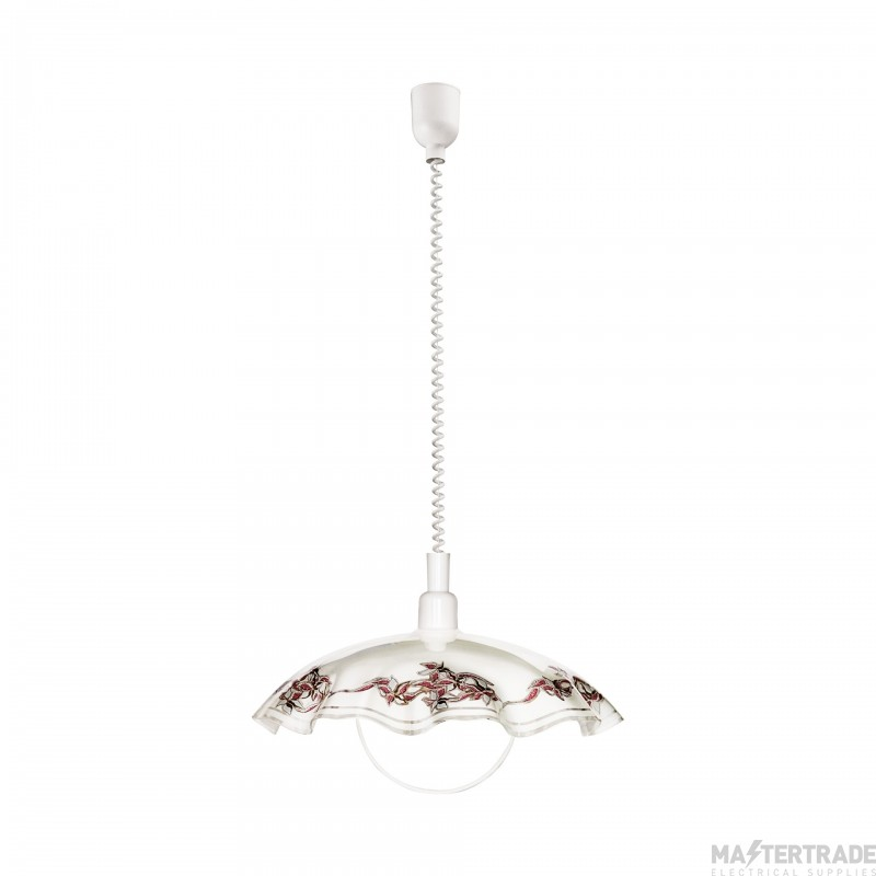 Eglo 3041 Vetro One Light Ceiling Pendant Light In White With White Glass Shade With Coloured Detail