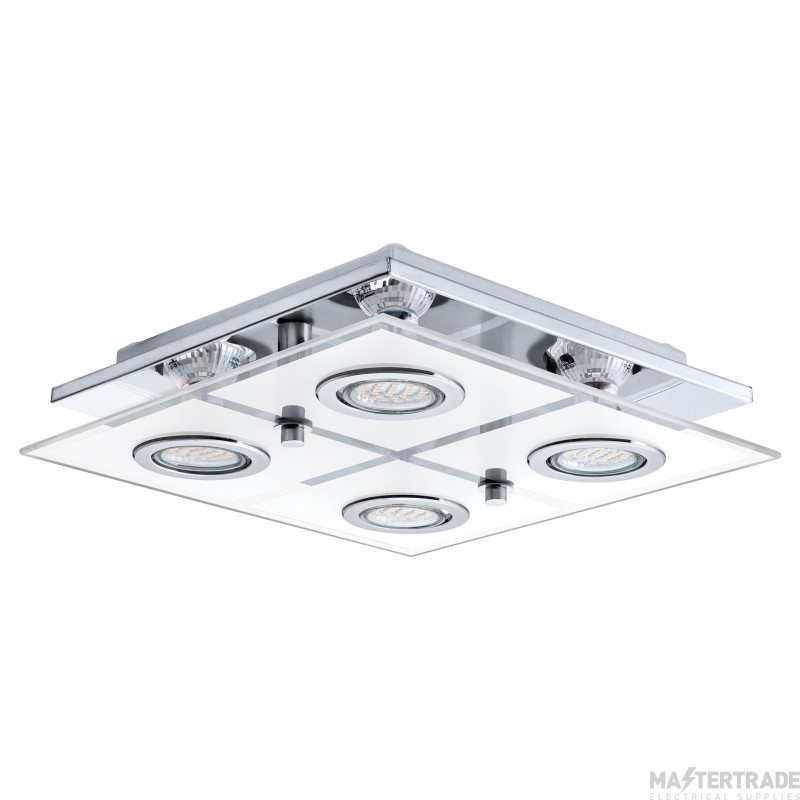 Eglo 30931 Cabo 4 Light LED Flush Ceiling Light In Chrome - L: 290mm