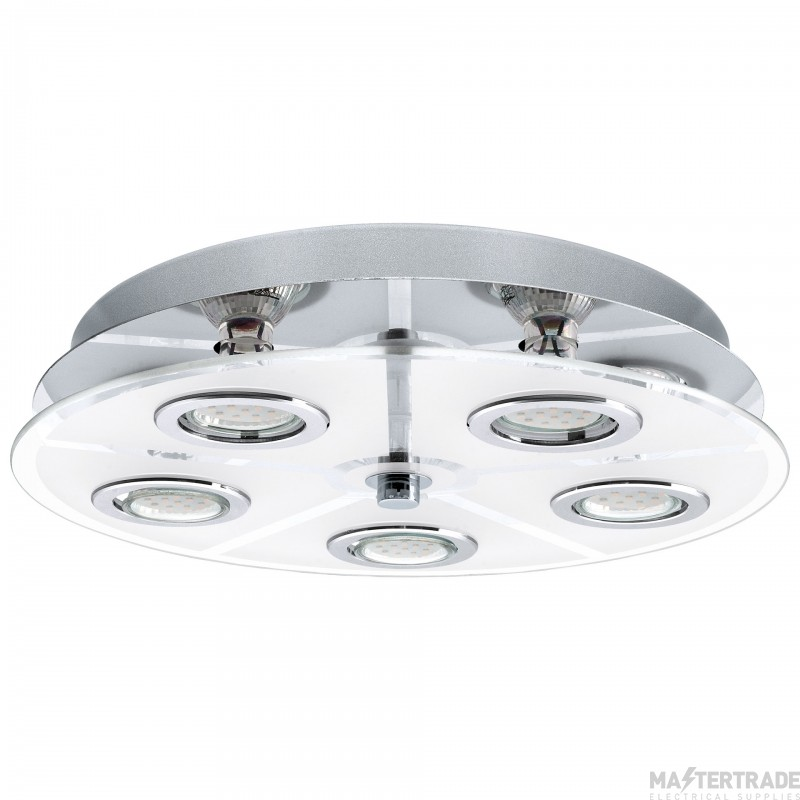 Eglo 30933 Cabo 5 Light Round LED Flush Ceiling Light In Chrome - Dia: 350mm