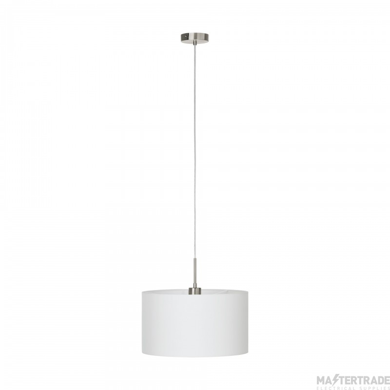 Eglo 31571 Pasteri One Light Ceiling Pendant Light In Satin Nickel With White Shade - Dia: 380mm