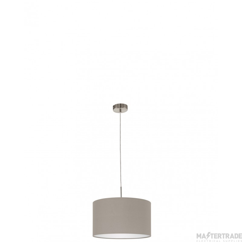Eglo 31572 Pasteri One Light Ceiling Pendant Light In Satin Nickel With Taupe Fabric Shade -D: 380mm