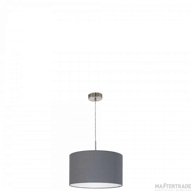 Eglo 31573 Pasteri One Light Ceiling Pendant Light In Satin Nickel With Grey Fabric Shade - D: 380mm
