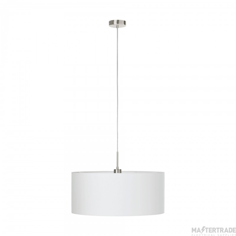Eglo 31575 Pasteri One Light Ceiling Pendant Light In Satin Nickel With White Shade - Dia: 530mm