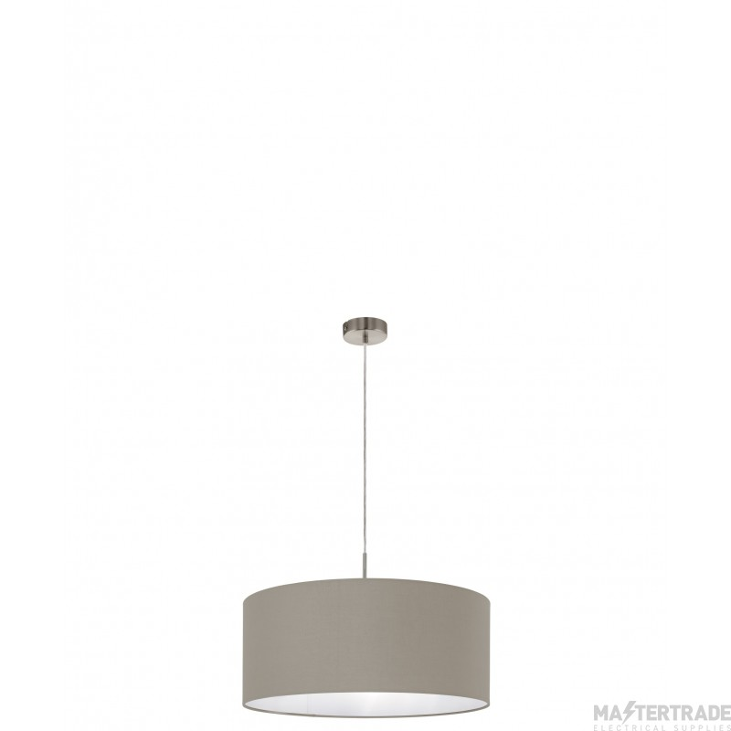 Eglo 31576 Pasteri One Light Ceiling Pendant Light In Satin Nickel With Taupe Fabric Shade -D: 530mm