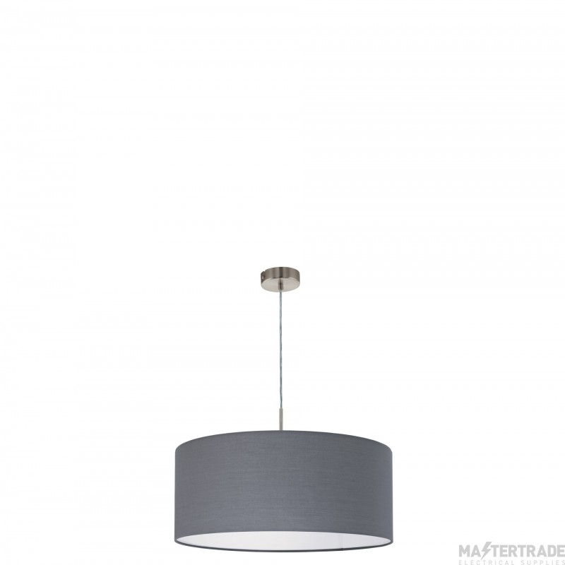 Eglo 31577 Pasteri One Light Ceiling Pendant Light In Satin Nickel With Grey Fabric Shade - D: 530mm