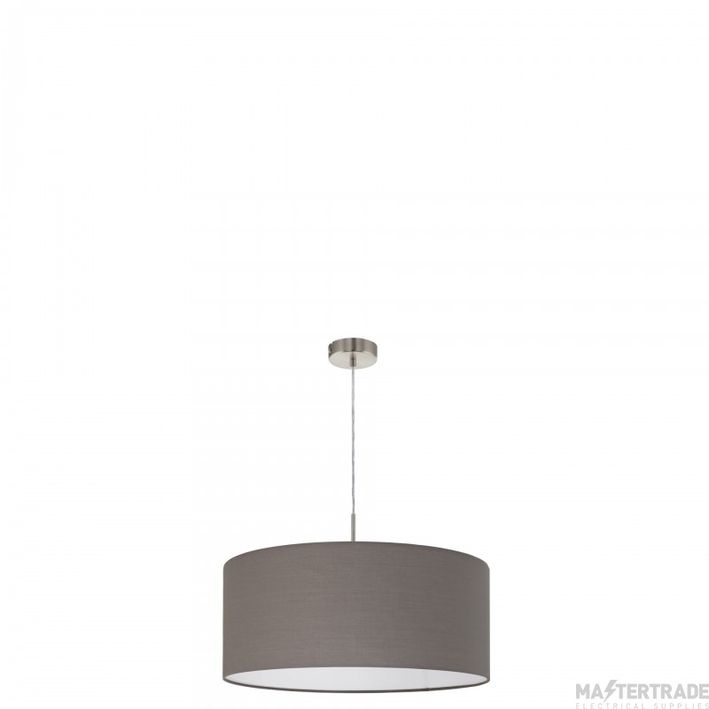 Eglo 31578 Pasteri One Light Ceiling Pendant Light In Satin Nickel With Brown Shade - D: 530mm