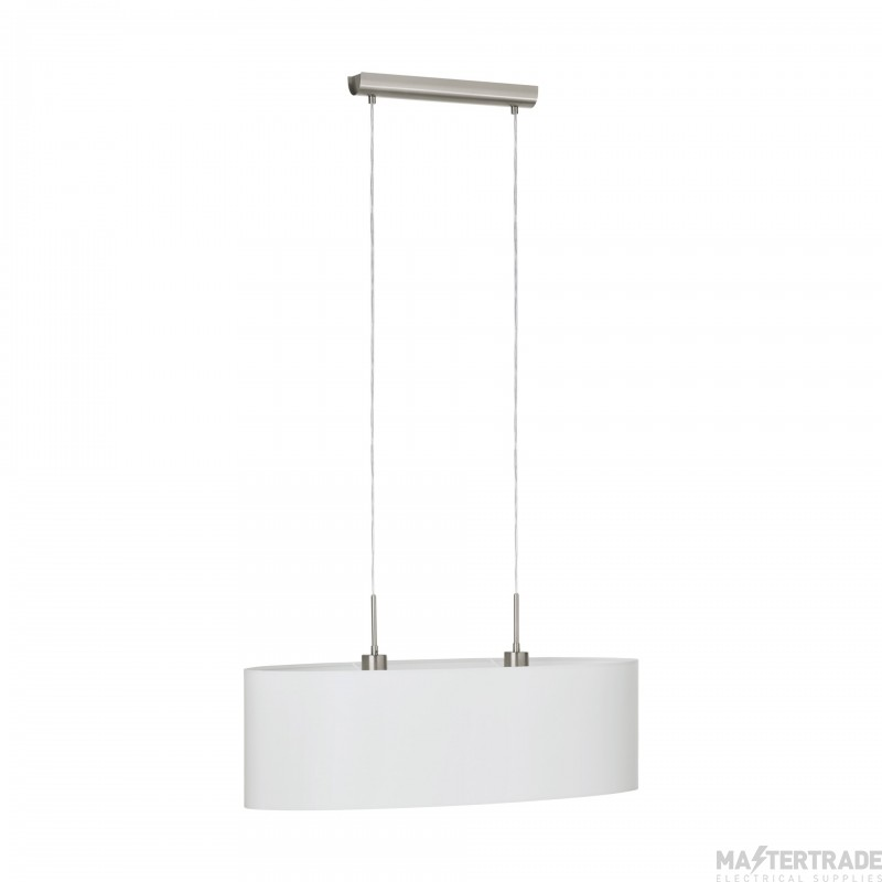 Eglo 31579 Pasteri Two Light Ceiling Pendant Light In Satin Nickel With White Shade - L: 750mm