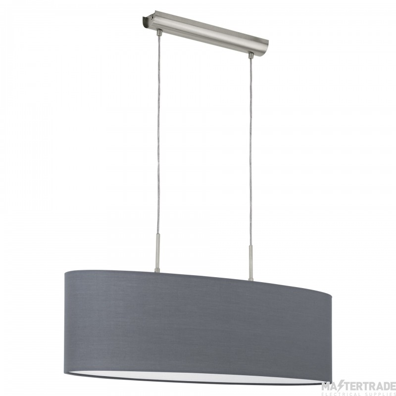Eglo 31582 Pasteri Two Light Ceiling Pendant Light In Satin Nickel With Grey Fabric Shade - L: 750mm