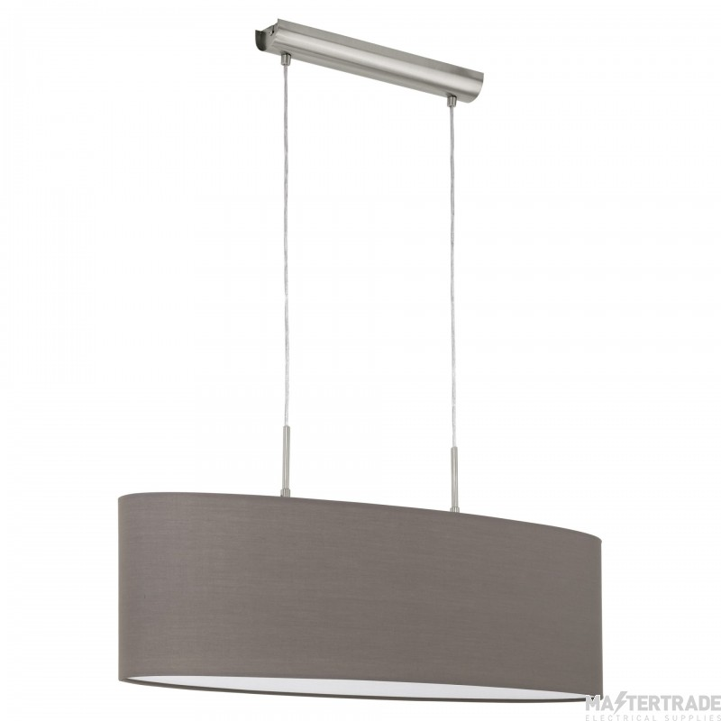 Eglo 31583 Pasteri Two Light Ceiling Pendant Light In Satin Nickel With Brown Shade - L: 750mm