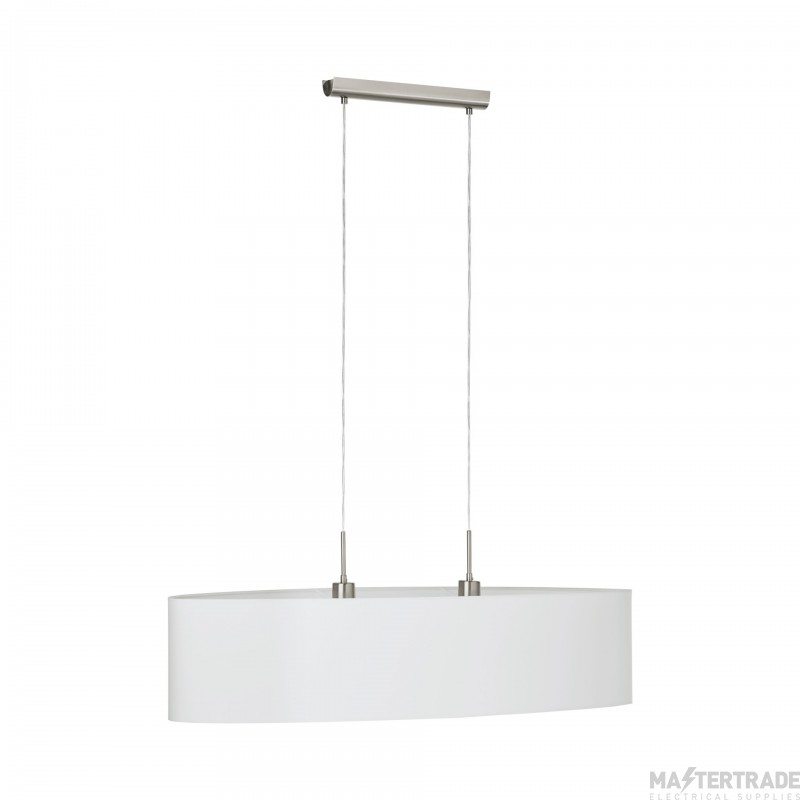 Eglo 31584 Pasteri Two Light Ceiling Pendant Light In Satin Nickel With White Shade - L: 1000mm