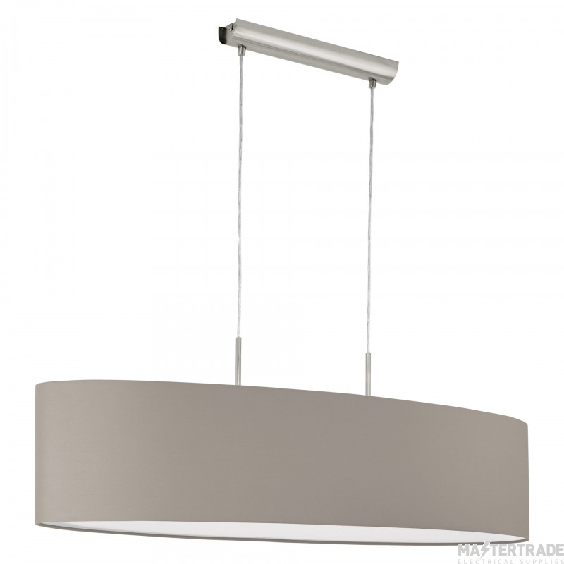 Eglo 31585 Pasteri One Light Ceiling Pendant Light In Satin Nickel With Taupe Shade - L: 1000mm