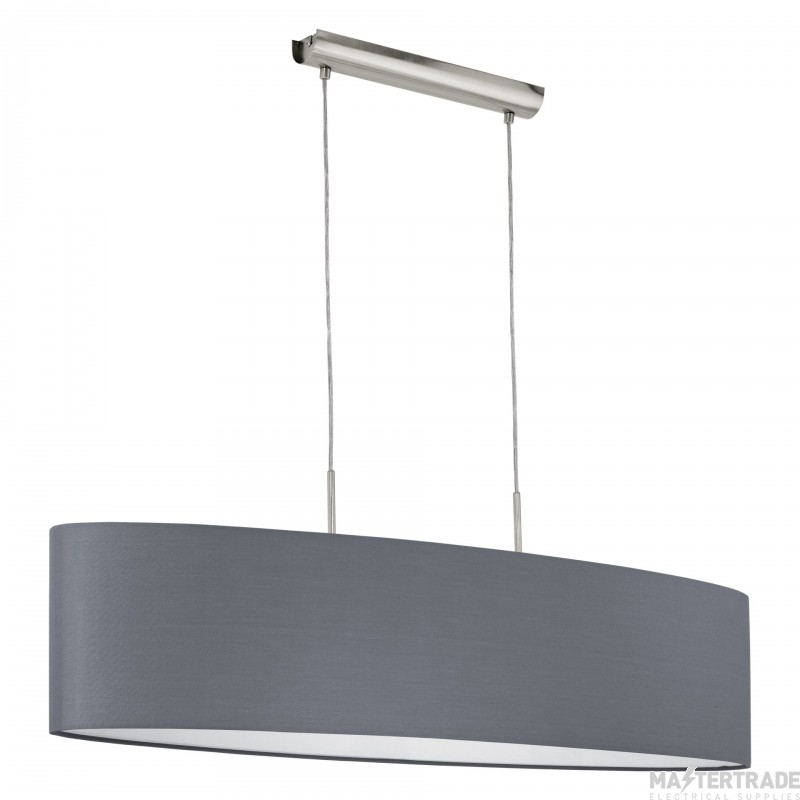 Eglo 31586 Pasteri One Light Ceiling Pendant Light In Satin Nickel With Grey Fabric Shade - L:1000mm