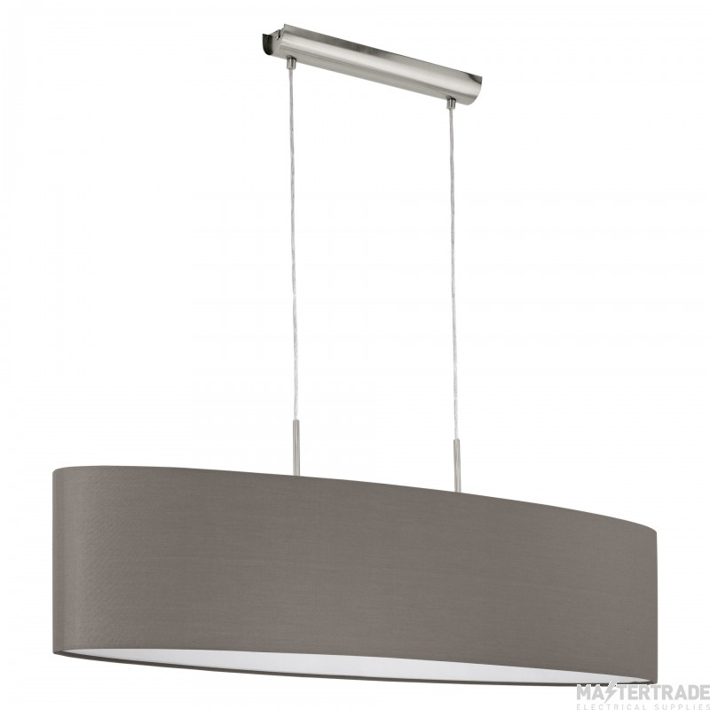 Eglo 31587 Pasteri Two Light Ceiling Pendant Light In Satin Nickel With Brown Shade - L: 1000mm