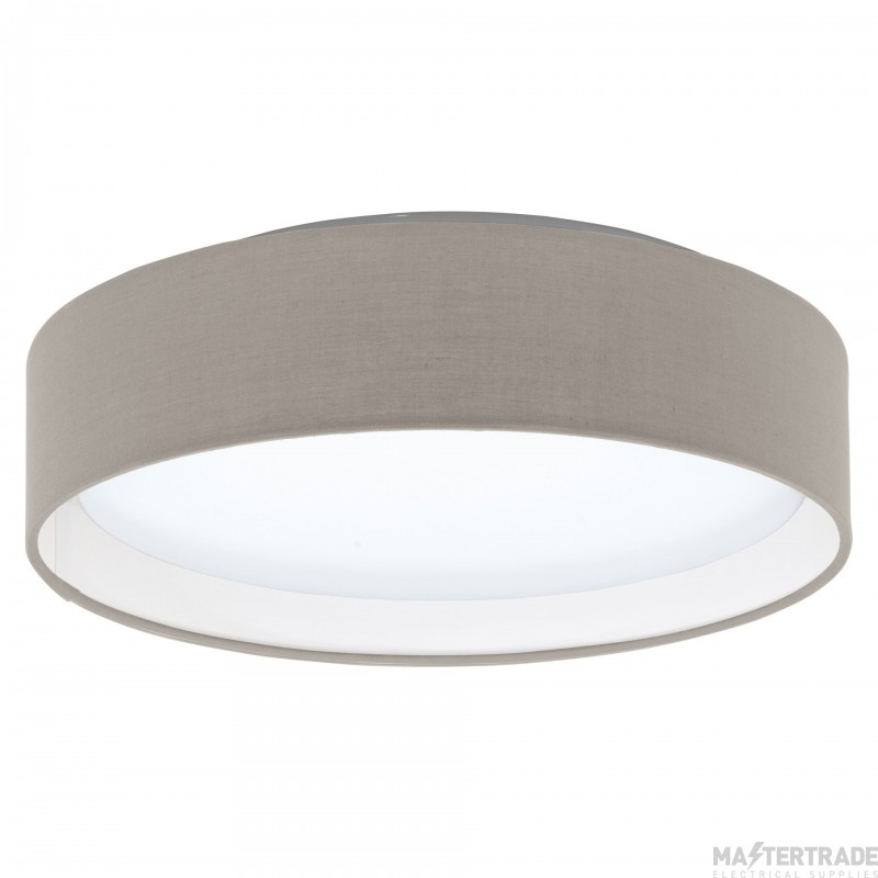 Eglo 31589 Pasteri One Light Flush Ceiling Light In White With Taupe Fabric Shade