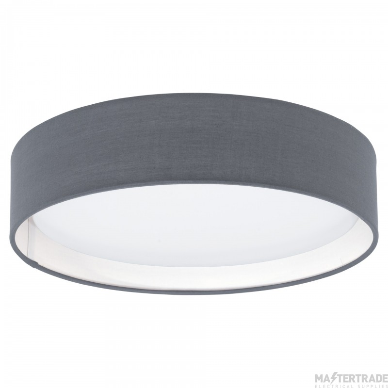 Eglo 31592 Pasteri One Light Flush Ceiling Light In White With Grey Fabric Shade