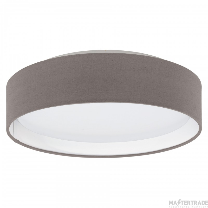 Eglo 31593 Pasteri One Light Flush Ceiling Light In White With Brown Shade