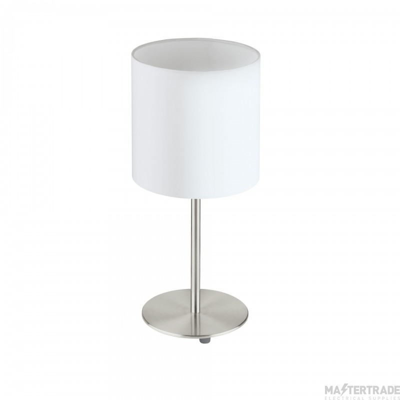 Eglo 31594 Pasteri One Light Table Lamp In Satin Nickel With White Shade