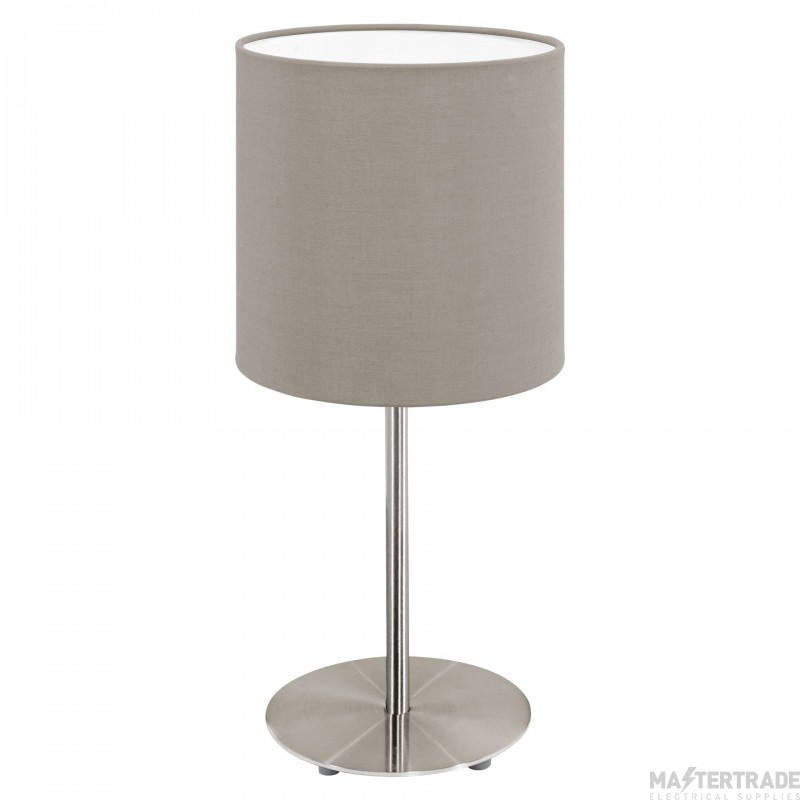 Eglo 31595 Pasteri One Light Table Lamp In Satin Nickel With Taupe Fabric Shade