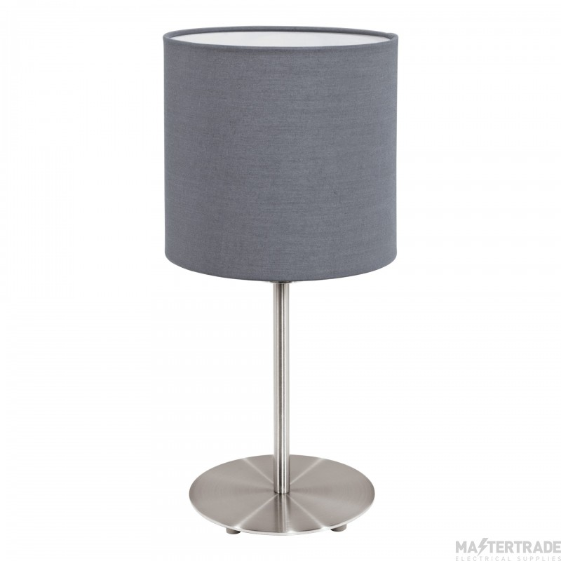 Eglo 31596 Pasteri One Light Table Lamp In Satin Nickel With Grey Fabric Shade