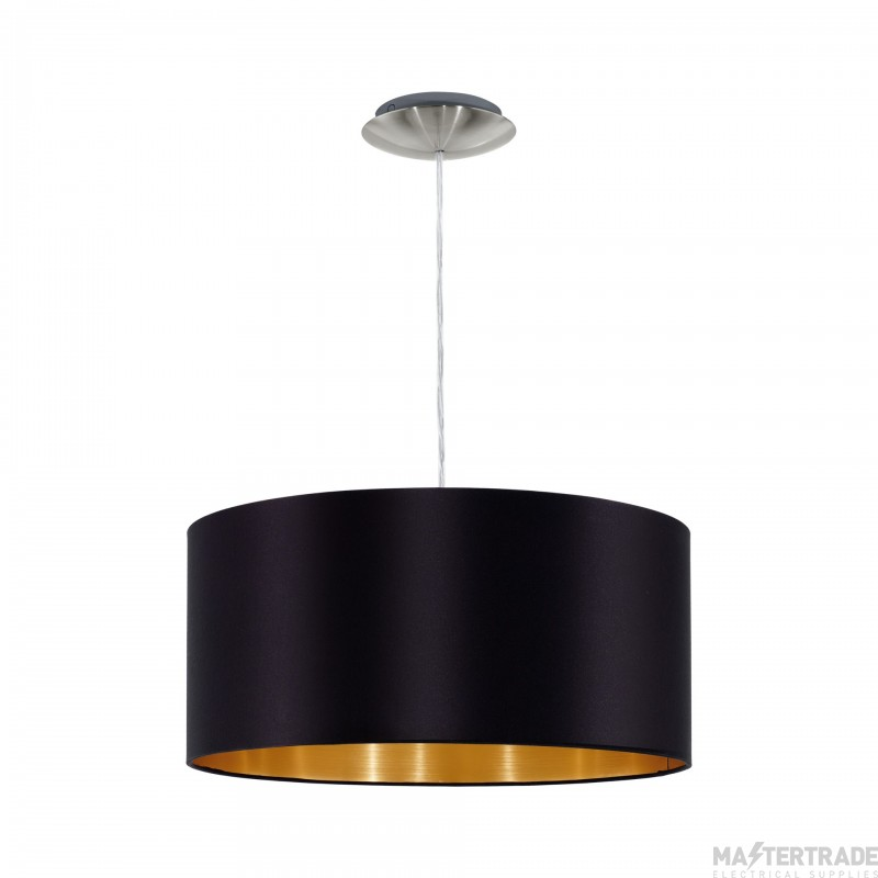 Eglo 31599 Maserlo One Light Ceiling Pendant Light In Satin Nickel With Black And Gold Fabric Shade