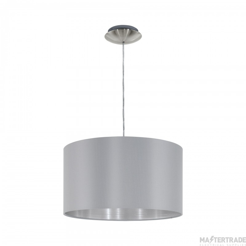 Eglo 31601 Maserlo One Light Ceiling Pendant Light In Satin Nickel With Silver And Grey Shade