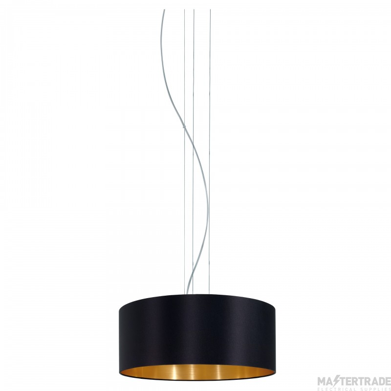 Eglo 31605 Maserlo Three Light Ceiling Pendant Light In Satin Nickel With Black And Gold Fabric Shade