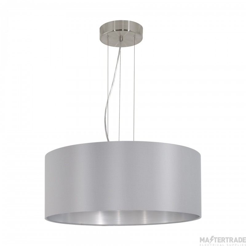 Eglo 31606 Maserlo Three Light Ceiling Pendant Light In Satin Nickel With Silver And Grey Shade