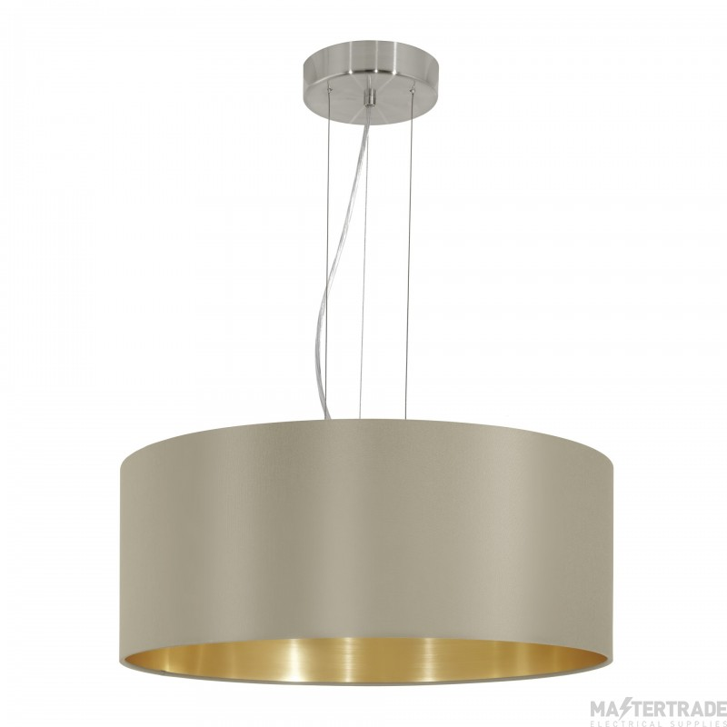 Eglo 31607 Maserlo Three Light Ceiling Pendant Light In Satin Nickel With Taupe And Gold Shade