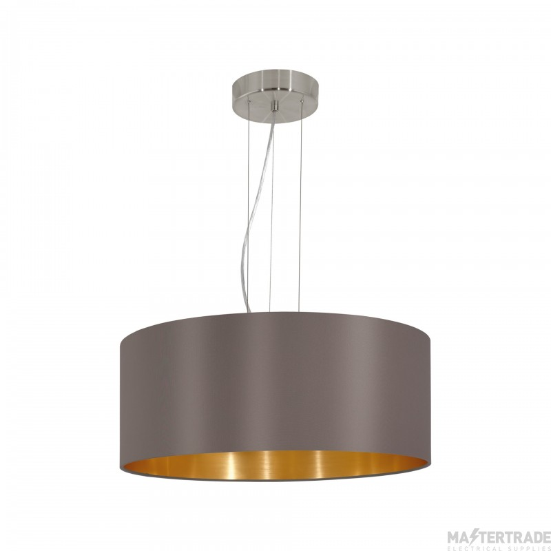 Eglo 31608 Maserlo Three Light Ceiling Pendant Light In Satin Nickel With Cappucino And Gold Shade