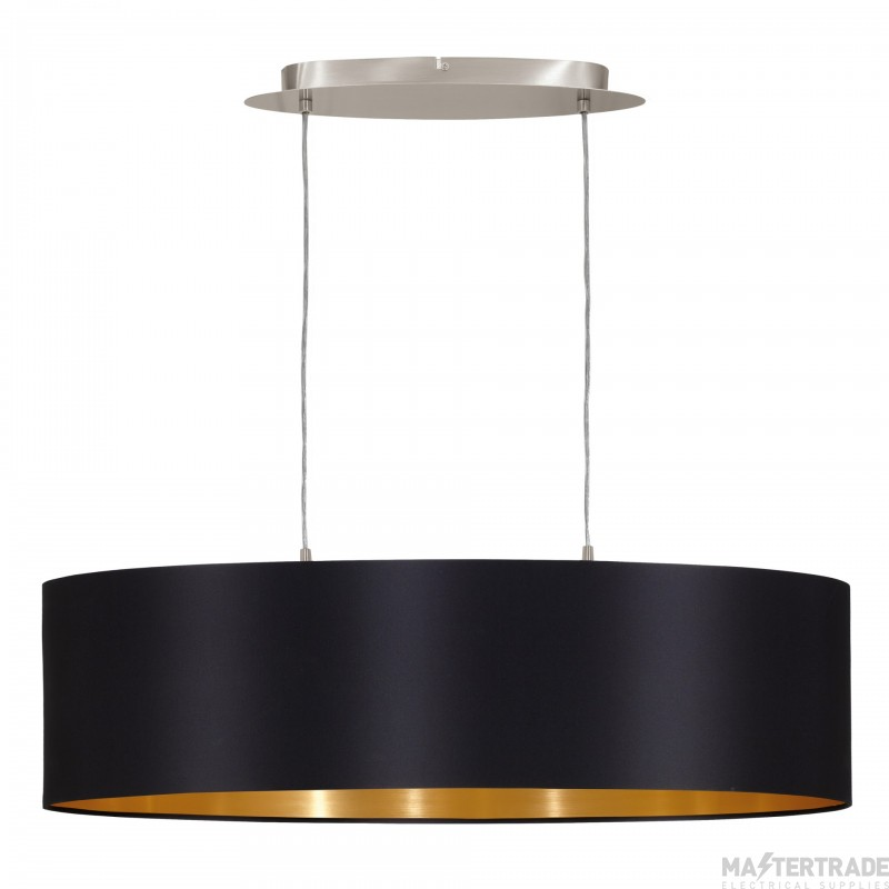 Eglo 31611 Maserlo Two Light Ceiling Pendant In Satin Nickel With Black And Gold Shade L: 780mm