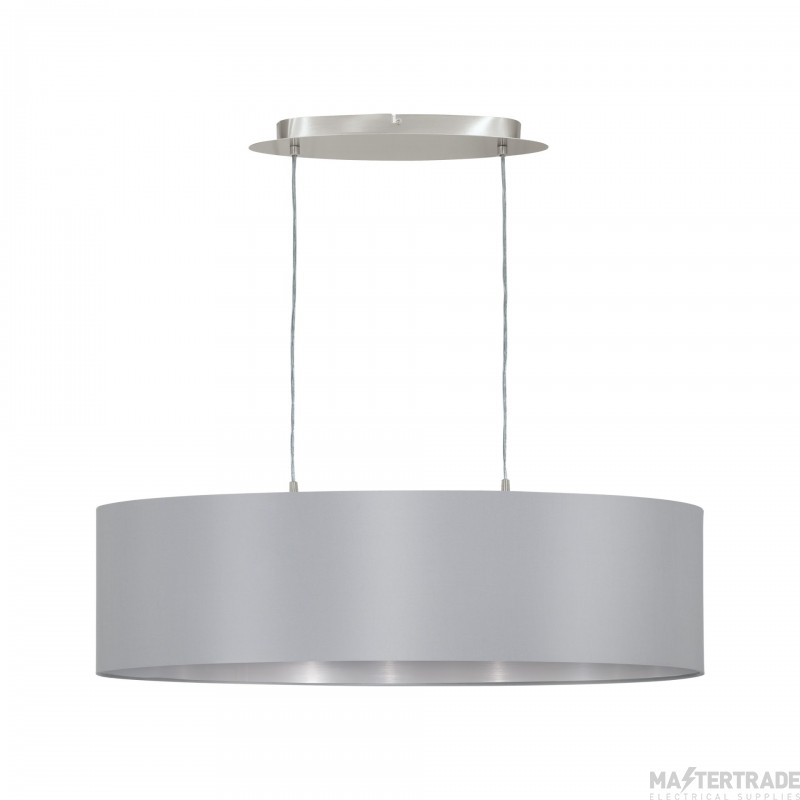 Eglo 31612 Maserlo Two Light Ceiling Pendant In Satin Nickel With Silver And Grey Shade - L: 780mm